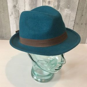 Wool Fedora Hat STEVE MADDEN Teal Blue O/S